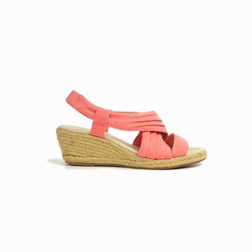 Vintage 90s Peach Wedge Sandals / Espadrille Wedges / 90s Sketchers Shoes - women's 7