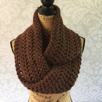 PRE-SEASON SALE Ready To Ship Infinity Scarf Large Chocolate Brown  Thick Women's Accessory Infinity Scarf