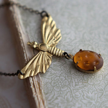 Gold Moth Necklace - Victorian Brass Moth with Vintage Honey Amber Dappled Glass Cabochon - Spring Fashion - Gift Box