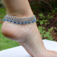 Breezy Silver Anklet with Blue Beads - Ready to Ship