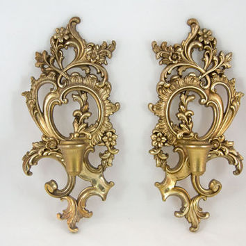Vintage 1950s Syroco Wood Gold  Wall Decor Candleholders - Hollywood Regency  / Rococo Style