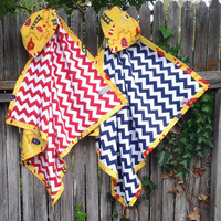 "Large Flannel Receiving Blanket- Fire Fighter Theme- Yellow and Navy Blue Chevron- Personalized- 38"" X 38"""