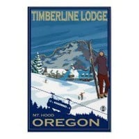 Mount Hood, Oregon Ski Poster - Timberline Lodge