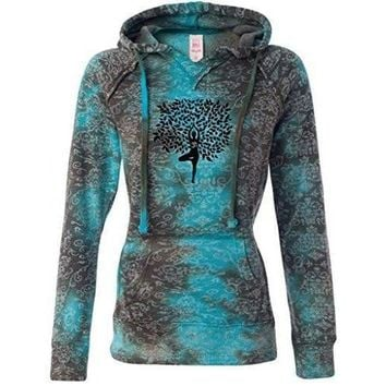 Yoga Clothing for You Womens Tree Pose Burnout V Hoodie