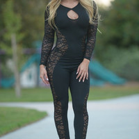 Sheer Mesh Splice Long Sleeve Night Jumpsuit
