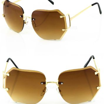 2-PAIR Modern Rimless DIAMOND CUT Women Sunglasses STYLISH Gold Frame Brown Lens
