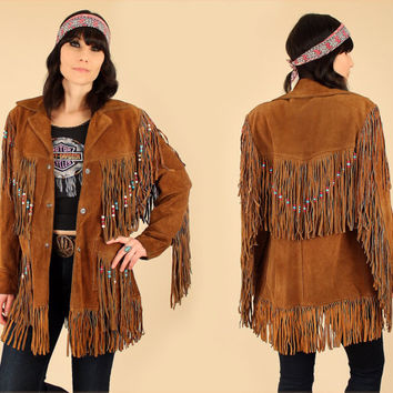 AMAZING ViNtAgE Suede Fringe Jacket Rancher by SCHOTT Bros. NYC Beaded BoHo HiPPiE Coat // Woodstock Era // Brown Leather M / L