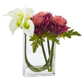 Artificial Flowers -12 Inch Calla Lily And Artichoke In Glass Vase No2