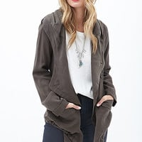 LOVE 21 Asymmetrical Hooded Jacket Olive