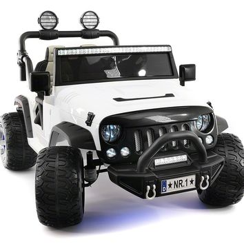 SUV 12V KIDS RIDE-ON CAR TRUCK WITH R/C PARENTAL REMOTE   WHITE