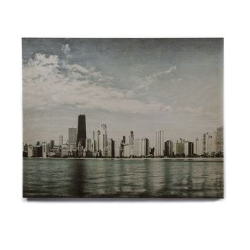 "Mary Carol Fitzgerald ""Chicago Morning Skyline"" Teal Blue Photography Birchwood Wall Art"