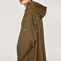 OVERSIZED PARKA WITH FAUX PEARLSDETAILS