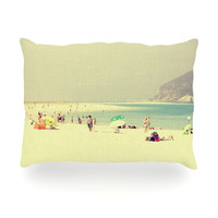 "Ingrid Beddoes ""Lazy Days"" Summer Beach Oblong Pillow"