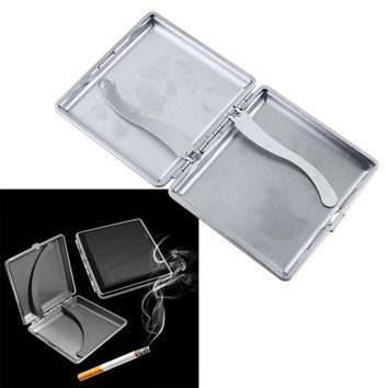 Fashion Black Pocket Metal&Leather Tobacco Box Case Container For 20 Cigarette Storage High Quality