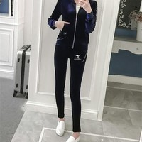 """Chanel"" Women Fashion Casual Logo Letter Print Long Sleeve Zip Cardigan Trousers Set Two-Piece Sportswear"
