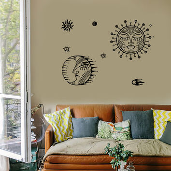 Wall Decal Sun Moon Universe Space Stars Cool Mural Vinyl Decal (z3156)