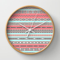 Peach Rose Baby Blue Aztec Tribal Native Pattern Wall Clock by RexLambo