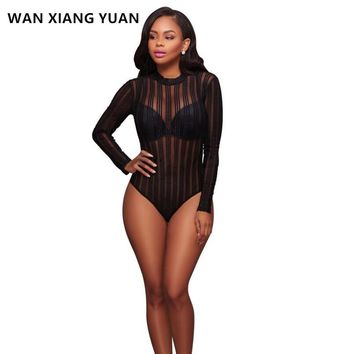 Sexy Black Striped Mesh Transparent Bodysuits Women Long Sleeves High Neck Skinny Body Jumpsuit Club Romper Lace Leotard