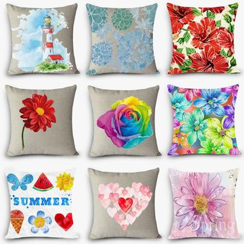 Nordic Vintage home decorative pillows floral print flowers square 45x45cm pillow pillowcase for bed seat back cushion MYJ-I2