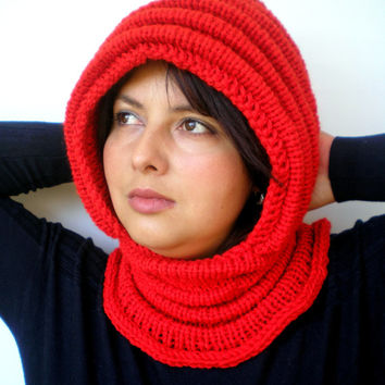 Fire Red Wave Chunky Knit Hood  Soft Mixed Wool Woman Hooded Scarf Cowl Fall Winter Accesories NEW