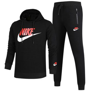 NIKE autumn and winter new long-sleeved hooded sports suit plus velvet sports two-piece black