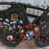 Vintage CHIC CHICO Diva Filigree Cuff Bracelet - Faceted Czech Crystals - Classy - Chic - Gift - Feminine - Charming and Unique