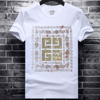 Givenchy Tide brand men's hot drilling round neck pullover half sleeve t-shirt White