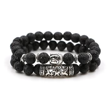 Buddhist Buddha Meditation Bracelet Natural Stone Yoga Bracelet For Women Men Energy Volcanic Stone Tiger Eye Beads Bracelet