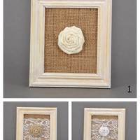 Wall panel White wooden frame with burlap and rose Burlap wall panel Fabric rose Wall hanging with rose Burlap panel Burlap wall decor