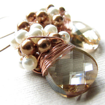 Wedding Jewelry, Cluster Earrings, Swarovski Golden Shadow Crystal Briolettes, Copper Cream Glass Pearls, Wire Wrapped Handmade Jewelry