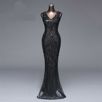 New Long Evening Dress Sexy Backless Luxury Long Sequin robe longue gown bride