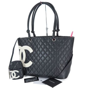 Auth CHANEL Cambon Line CC Quilted Black and White Leather Tote Bag Purse #26068