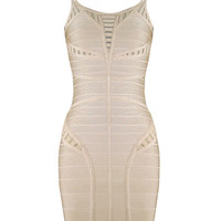 Sexy Strappy Beige Party Bandage Dress
