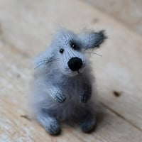 Knitted Dog Stuffed Animal Dog Knitted Handmade Dog Toys Gift Dog Cute Grey Dog Soft Sculptures Dog Miniatures Woodland