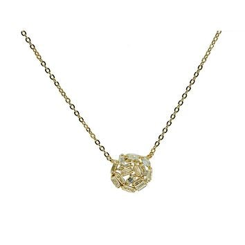 Golden Cluster Baguette Cz Pendant Necklace