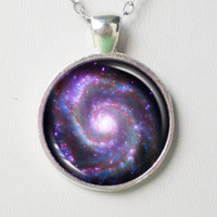 Spiral Galaxy Necklace - M51, Whirlpool Galaxy- Galaxy Series