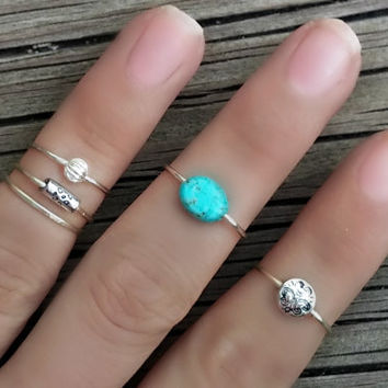 Silver Midi Ring Set, Turquoise Beaded Knuckle Rings, Set of 5, Silver Stacking Rings, Turquoise and Silver Above Knuckle Rings