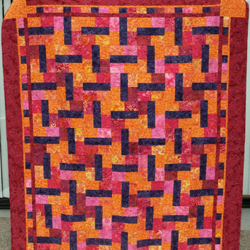 Large Lap Quilt - Handmade Orange and Purple Batik Quilt - Batik Lap or Couch Quilt
