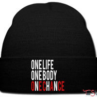 One Life One Body One Chance beanie knit hat