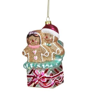 "4.5"" Glittered Gingerbread Man and Woman in Gift Box Glass Christmas Ornament"