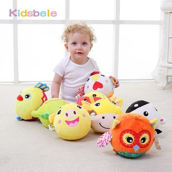 Baby Appease Toys For Car Pram Crib Ball Cartoon Animals Plush Doll Grasp Education Toys For Newborn Infant Gifts