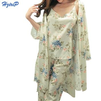 Hzirip Adult Sleepwear Pajama Pajamas 3 Pcs Set Women Robe Gown Set Bathrobe Nightgown Home Indoor Female Sleepwear Pyjama Women