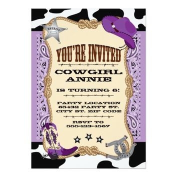 Purple Cowgirl Birthday, 5x7 Invitation