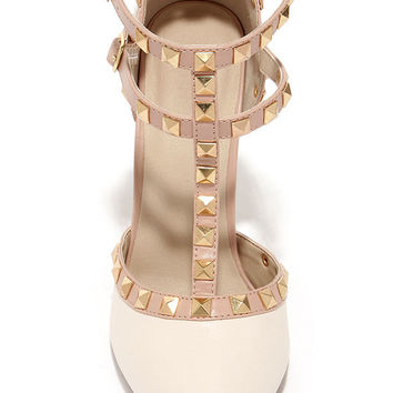Wild Diva Lounge Adora 64 Stone Studded T-Strap Pointed Heels