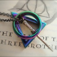 DEATHLY HALLOWS IV - Unisex Harry Potter Inspired Deathly Hallows Necklace In Iridescent Hematite Ring and Triangle Three Peverell Brothers | JetaimeBoutique - Jewelry on ArtFire