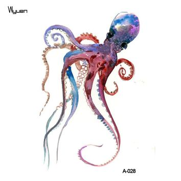 WYUEN Octopus Temporary Tattoo Sticker for Waterproof Men Fake Body Art Animal 9.8X6cm Fashion Women Hot Design Sticker A-028