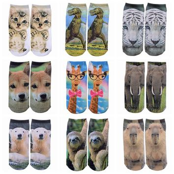 All Over Print Animal Giraffe Cat Elephant Low Cut Ankle Socks Funny Crazy Cool Novelty Cute Fun Funky Colorful