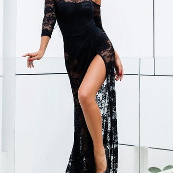 Magical Night Black Sheer Lace 3/4 Sleeve Off The Shoulder High Slit Maxi Dress