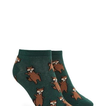 Raccoon Print Ankle Socks