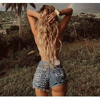 Dangers Vintage Studded High Waisted Shorts